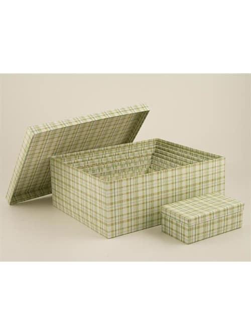 Disraeli scatola in cartone con quadretti bianchi e verdi
