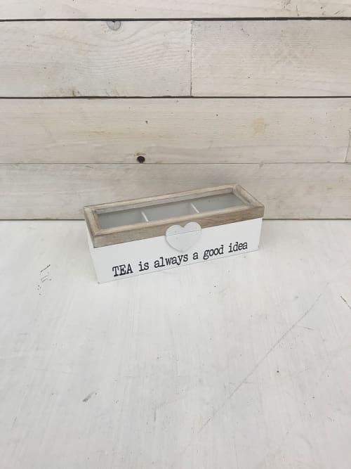 Scatola porta thè a tre in legno shabby chic - Lorenzongift