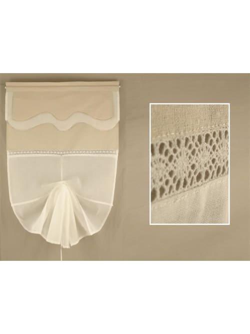 Set 2 tende bianche con top beige e apertura centrale - Disraeli