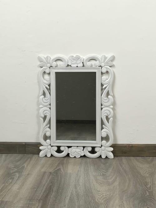 Specchio Shabby con cornice bianca in legno - Ad Trend