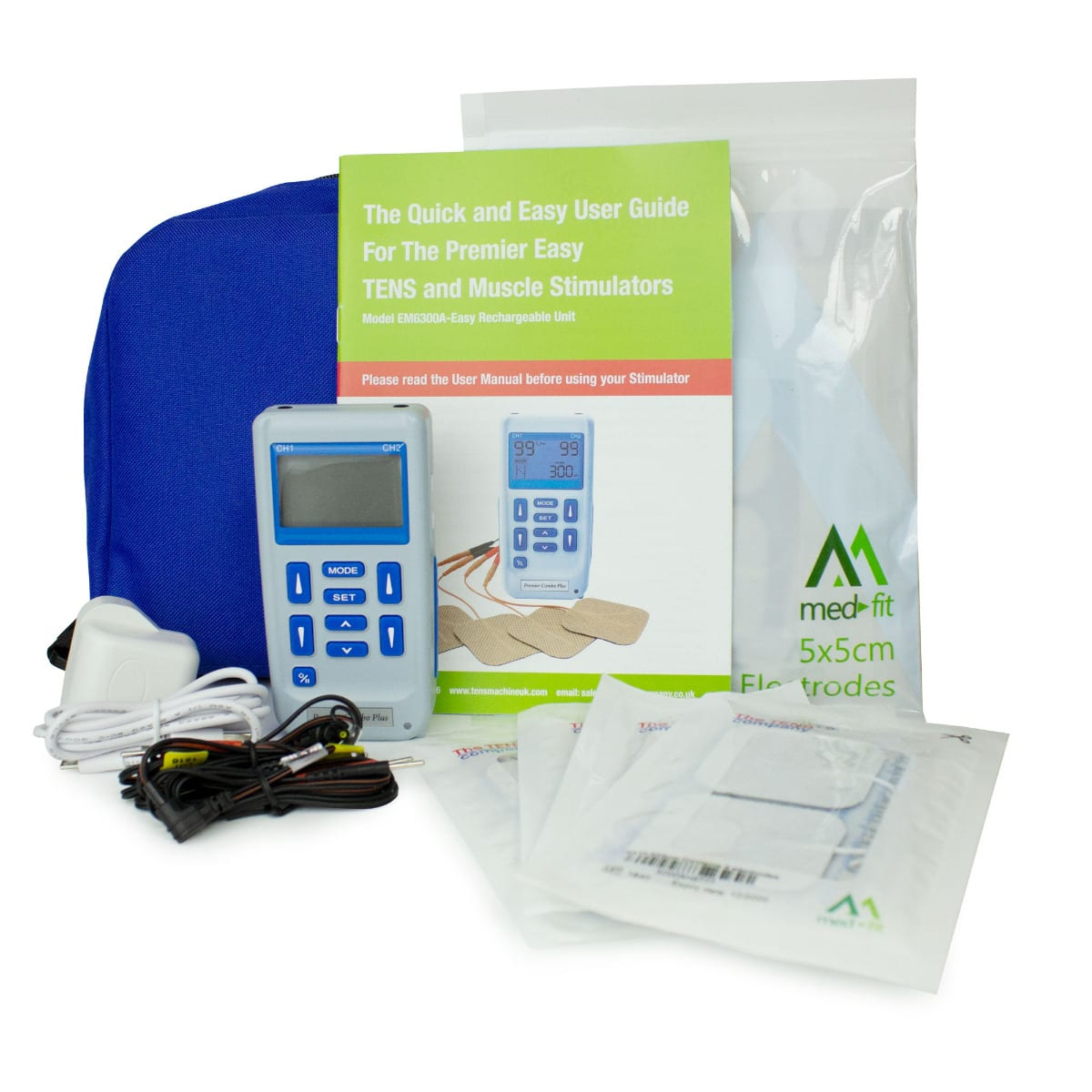 The picture shows a full pack of MEDFIT tens equipment. In this package comes with electrodes, the tens unit, wires and a manual to allow the user to understand all programs and placement of the electrodes