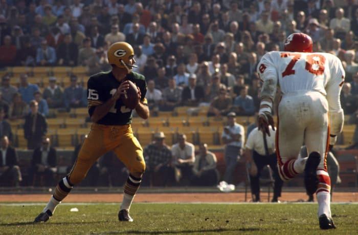 Super Bowl I: Bart Starr, Green Bay Packers, and Len Dawson, Kansas City Chiefs