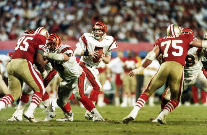 Super Bowl XXIII: Joe Montana, San Francisco 49ers, and Boomer Esiason, Cincinnati Bengals