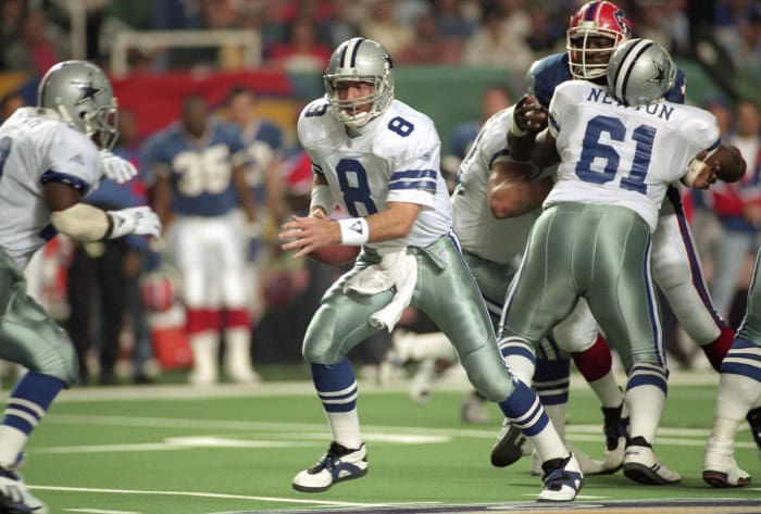 Super Bowl XXVIII: Troy Aikman, Dallas Cowboys, and Jim Kelly, Buffalo Bills