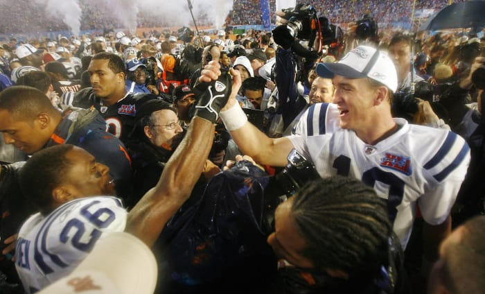 Super Bowl XLI: Peyton Manning, Indianapolis Colts, and Rex Grossman, Chicago Bears