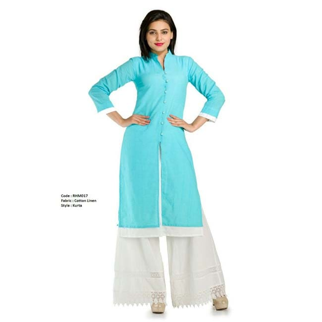 Double layer linen sherwani (Blue White)