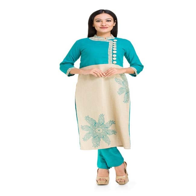 Beige 10x10 with Green Khadi kurti and Pencil pants Suit Set