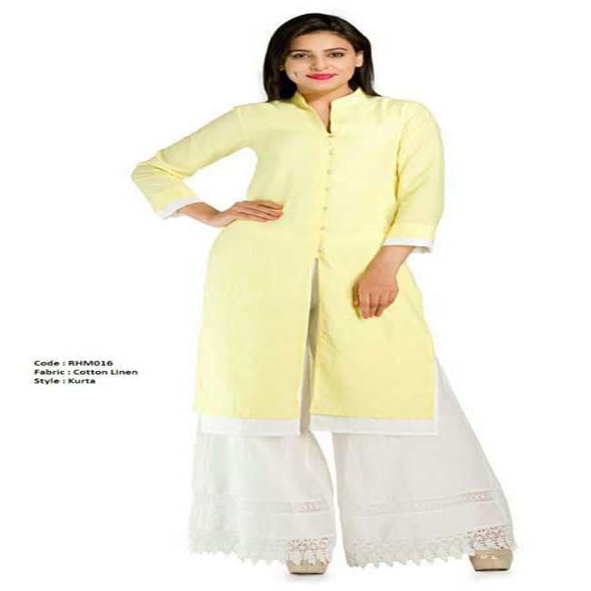 Double layer linen sherwani Girls (Lemom/White)