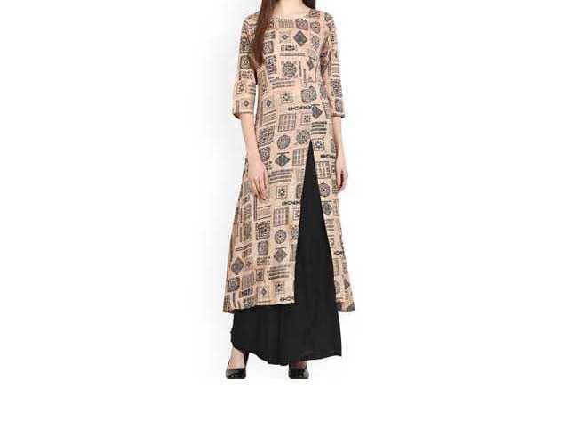 Women Beige & Black Printed A-Line Kurta online