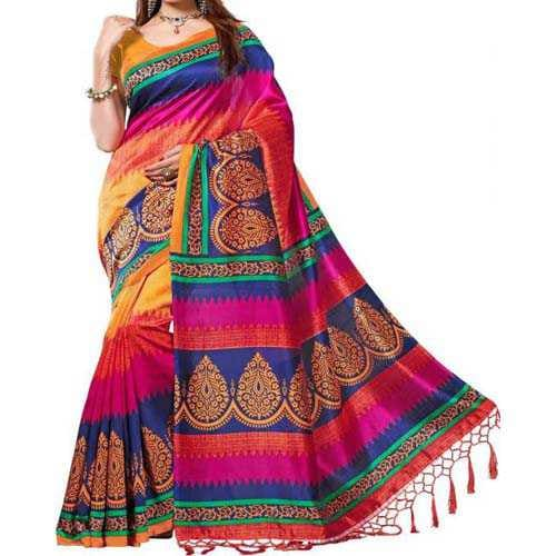 Women's saree online E-Vastram Printed Bollywood Silk Saree (Multicolor) @Zhakaash